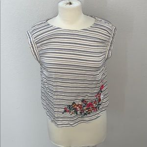 GB girls striped embroidered tank sz L NWT